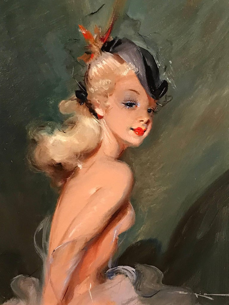 Parisian Fashion Model in Hat, signed vintage oil painting - Painting by Unknown