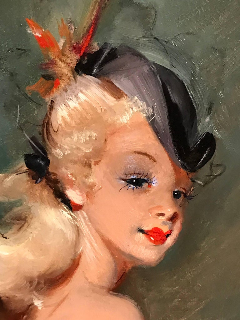 Parisian Fashion Model in Hat, signed vintage oil painting - Black Portrait Painting by Unknown
