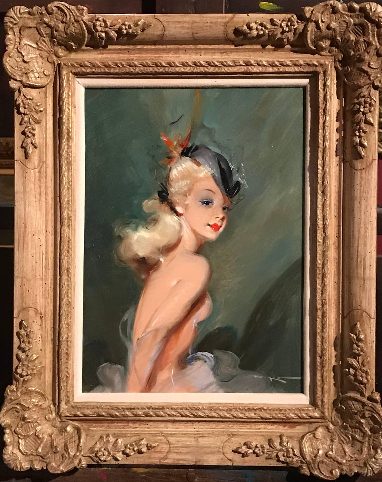 Parisian Fashion Model in Hat, signed vintage oil painting For Sale 4