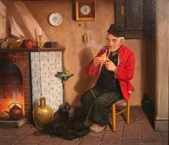 A Quiet Smoke, antique German oil painting