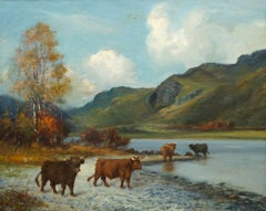 Catte Watering from the Loch's Waters, signed oil