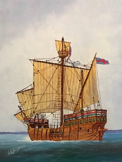 The Matthew Ship of John Cabot, Fine Marine Portrait Oil Painting