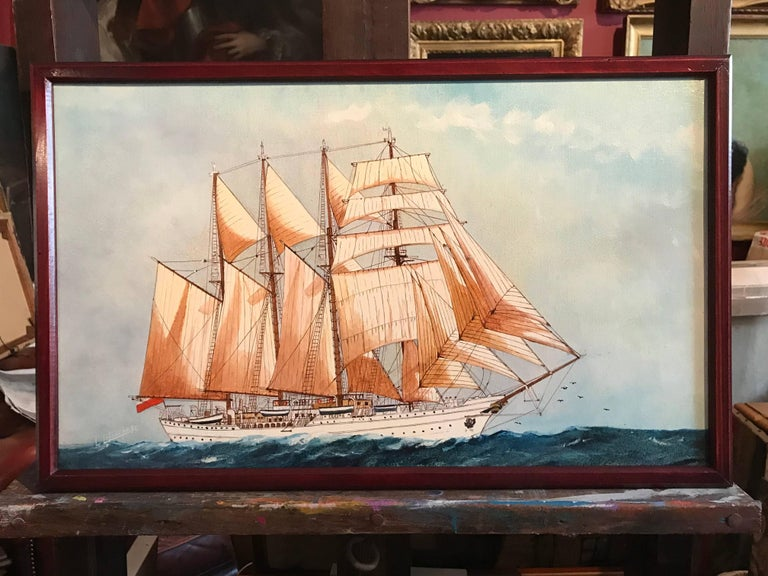 The Esmeralda, Tall Ship of the Chilean Navy - Painting by Louis Letouche