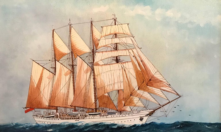 Louis Letouche Portrait Painting - The Esmeralda, Tall Ship of the Chilean Navy