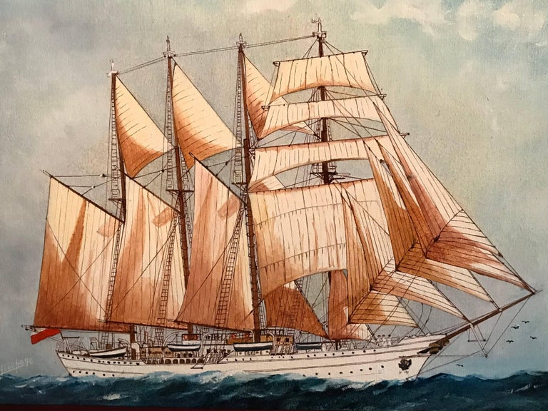 The Esmeralda, Tall Ship of the Chilean Navy - Realist Painting by Louis Letouche
