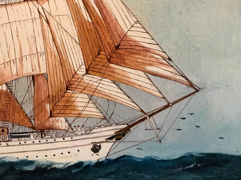 The Esmeralda, Tall Ship of the Chilean Navy - Beige Portrait Painting by Louis Letouche