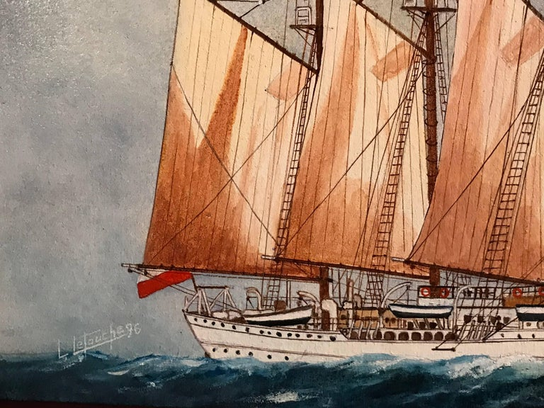The Esmeralda by Louis Letouche (French 1924-2015) oil painting on linen canvas, stretched over board framed  Framed size:  14 x 22 inches  Superb oil painting by the well listed French marine artist Louis Letouche (1924-2015). The painting portrays
