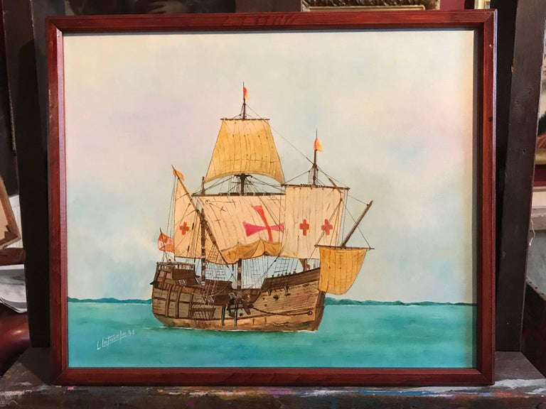 The Santa Maria - Christopher Columbus's ship, signed oil painting - Painting by Louis Letouche