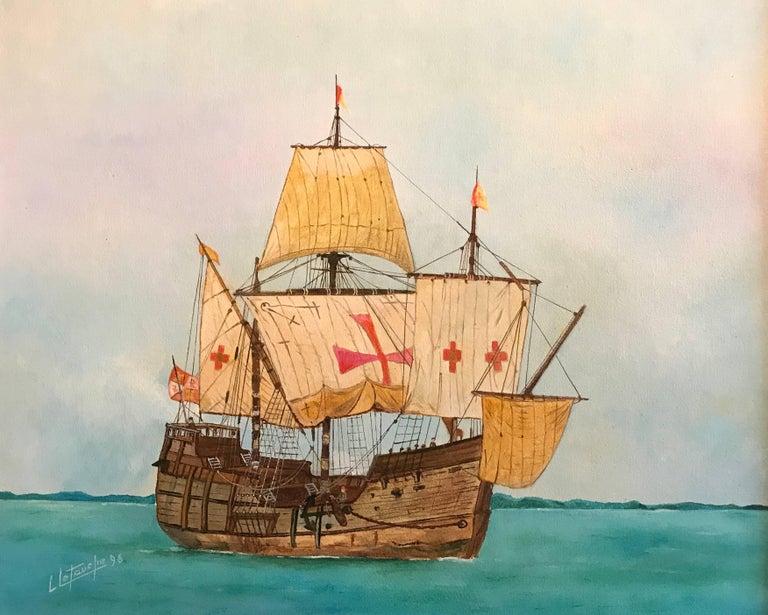 Louis Letouche Portrait Painting - The Santa Maria - Christopher Columbus's ship, signed oil painting