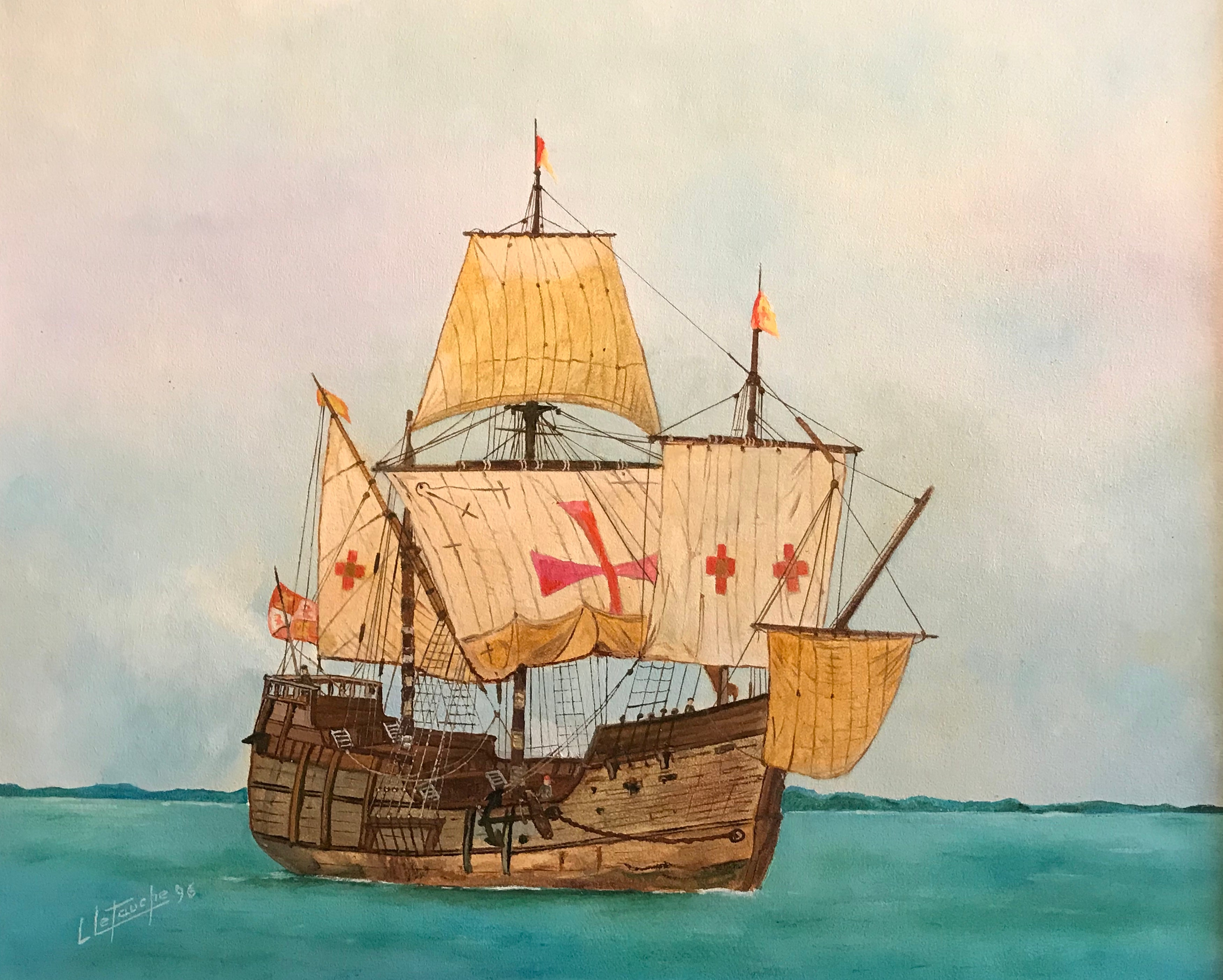 The Santa Maria - Christopher Columbus's ship, signed oil painting