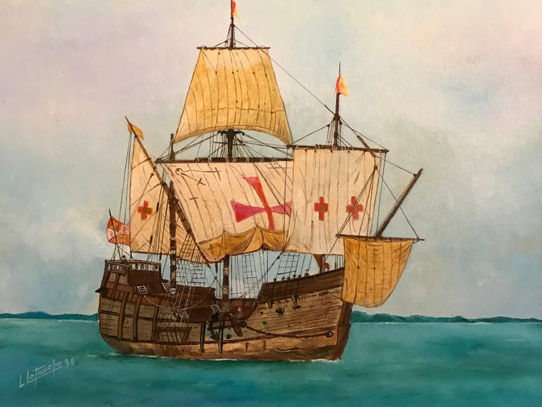 The Santa Maria - Christopher Columbus's ship, signed oil painting - Realist Painting by Louis Letouche