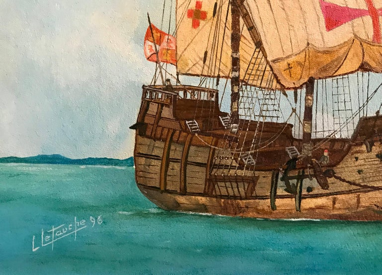 The Santa Maria - Christopher Columbus's ship, signed oil painting - Beige Portrait Painting by Louis Letouche