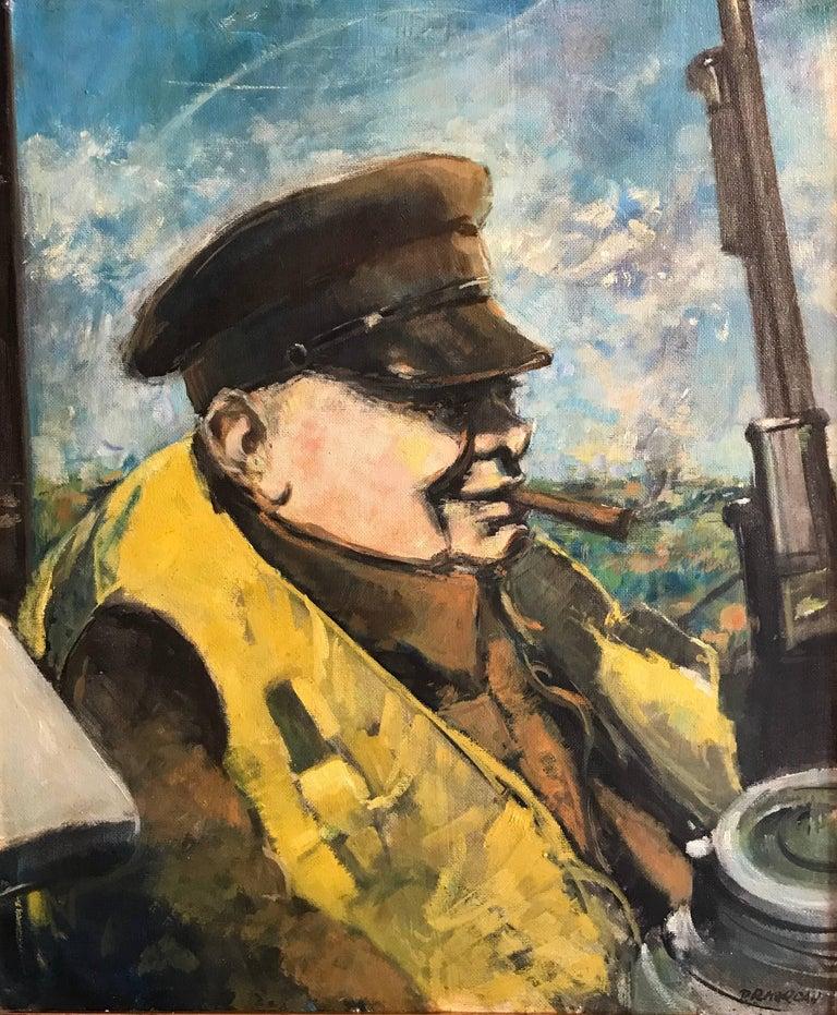 Winston Churchill Portrait on WW2 Battleship, signed oil painting