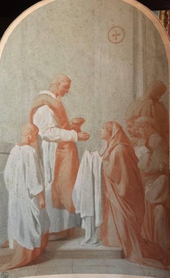 15th Century Renaissance Old Master Chalk Drawing - Taking Communion