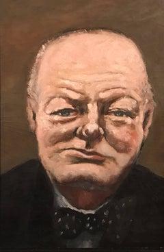 Winston Churchill Portrait, period oil painting