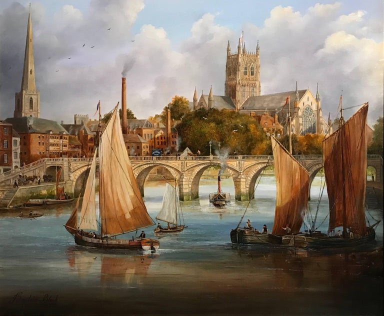 Worcester Bridge & Cathedral, Fine Oil Painting on Canvas