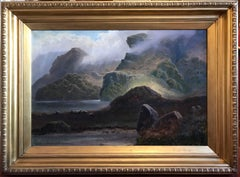 Huge 19th Century Scottish Glen Atmospheric Landscape Sheep Grazing, Signed Oil