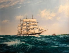 Huge Maritime Oil Painting Classic Sailing Ship Choppy Waters