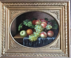 Sumptuous Still Life Fruit on a Table, signed oil painting