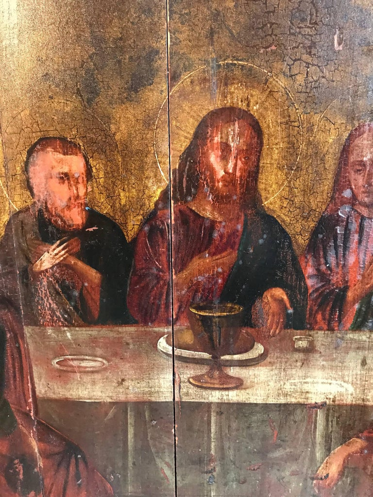 The Last Supper Russian School, 18th century oil painting on wooden panels approx: 34 x 32 inches x 1 inch deep  Very rare and important early Russian Old Master oil painting depicting