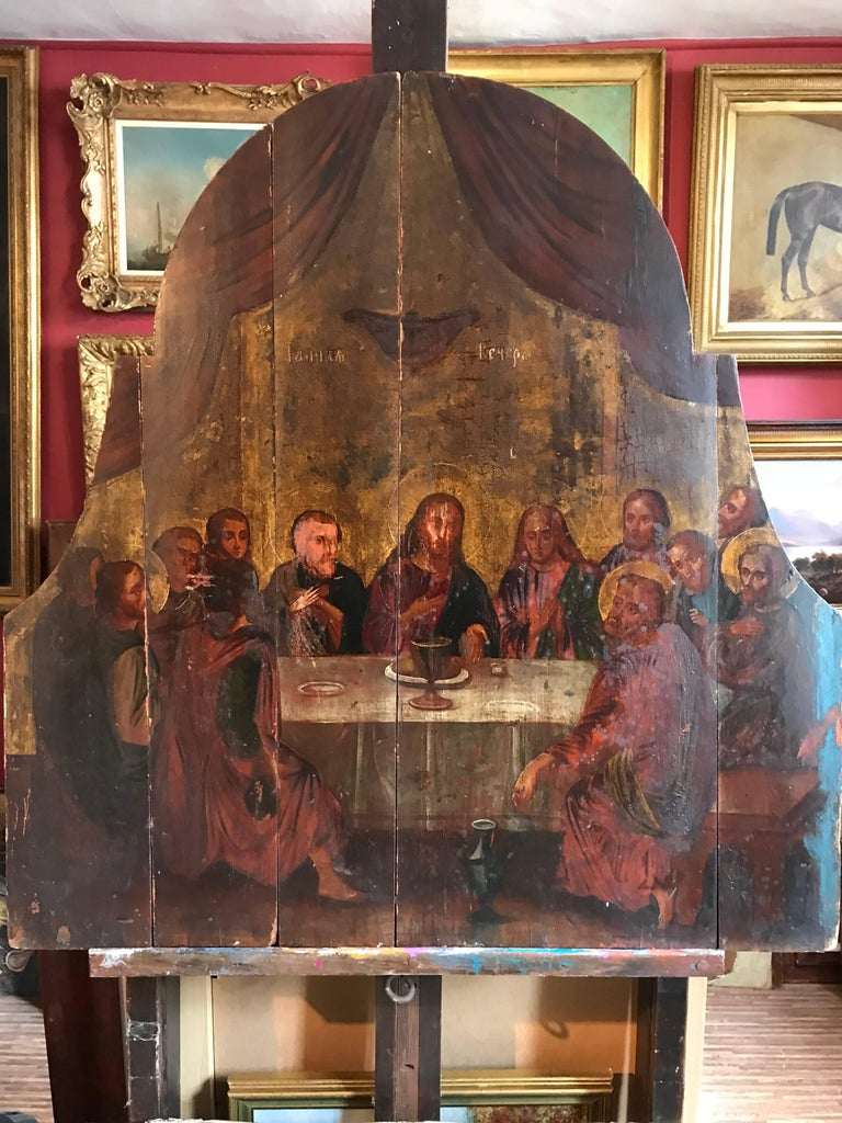 Unknown Figurative Painting - The Last Supper, 18th century Russian Old Master Oil Painting on Wood Panels