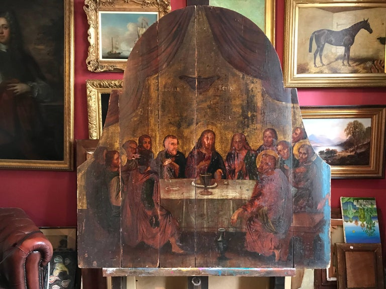 The Last Supper, 18th century Russian Old Master Oil Painting on Wood Panels - Brown Figurative Painting by Unknown