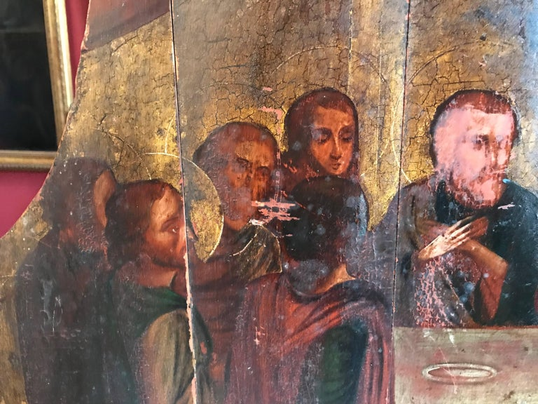 The Last Supper, 18th century Russian Old Master Oil Painting on Wood Panels For Sale 2