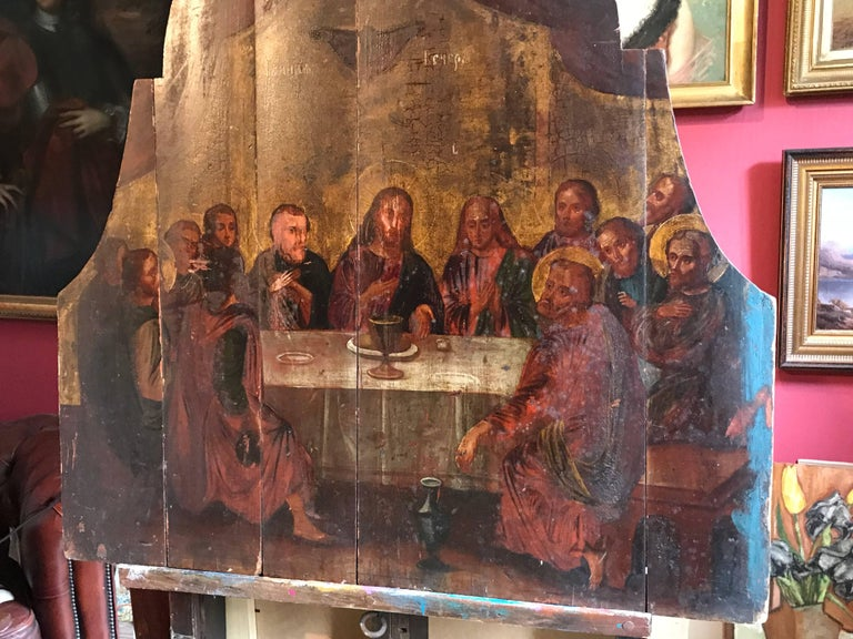 The Last Supper, 18th century Russian Old Master Oil Painting on Wood Panels For Sale 9