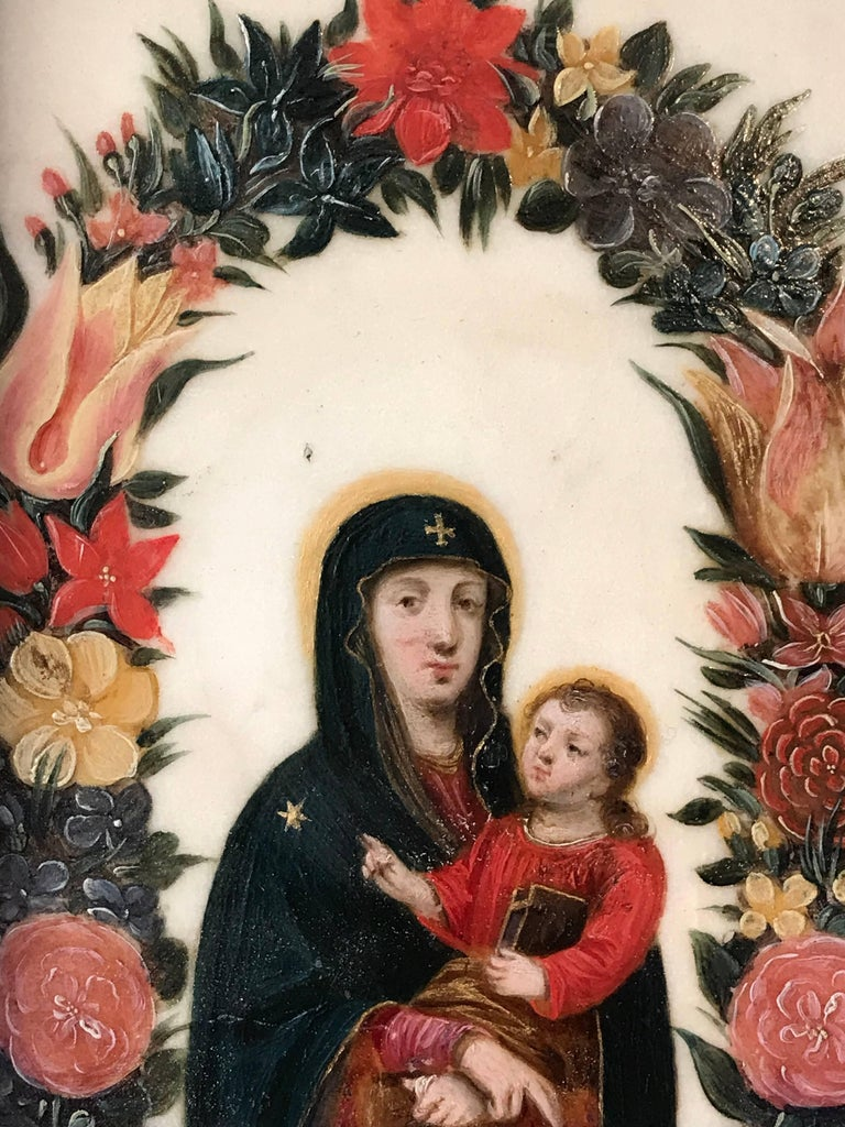 Virgin and Christ Child, Oil on Marble circa 1620