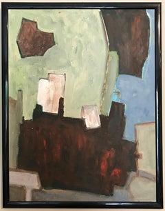 French Cubist Abstract Oil Painting Soft Greens Deep Reds