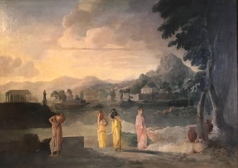 Enormous Neo-Classical Painting - Figures in Italianate Arcadian Landscape