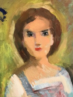 French Fauvist Oil Painting Portrait of Young Girl