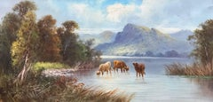 Cattle Watering Scottish Highland Loch, signed antique oil painting