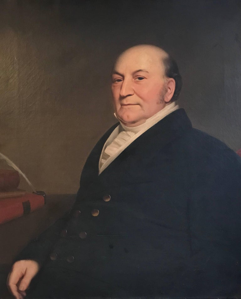 c1859 Portrait of New York Lawyer, Large 19th century Oil Painting on Canvas