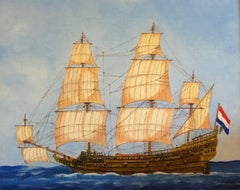 Dutch Warship 17th Century, signed oil painting