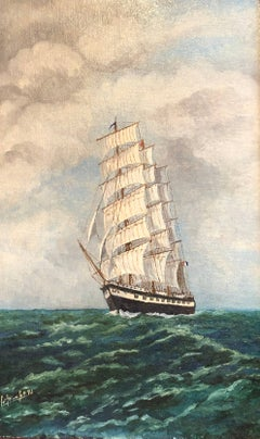 French Orient Ship, signed oil painting