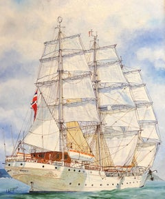 Christian Radich Ship, signed oil painting