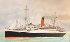 RMS Laconia, signed oil painting