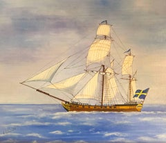 Ketch, Swedish Ship, signed oil painting