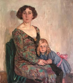 Huge 1930's Portrait Mother & Daughter, signed oil painting on canvas