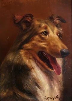 Portrait of a Collie Dog, signed original oil painting