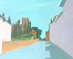 Village Road, Modernist Landscape, Signed Oil Painting