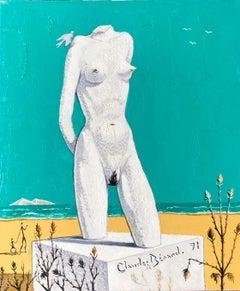 "Nudist Statue on Beach, ""L'Atlante', Signed Oil Painting"