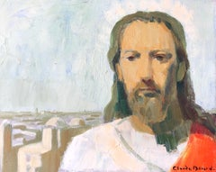 Portrait of Jesus looking over Jerusalem, Signed Oil Painting