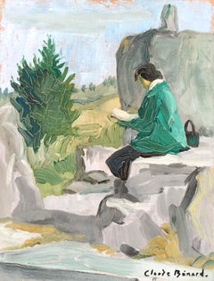 Woman reading a book, Signed Oil Painting