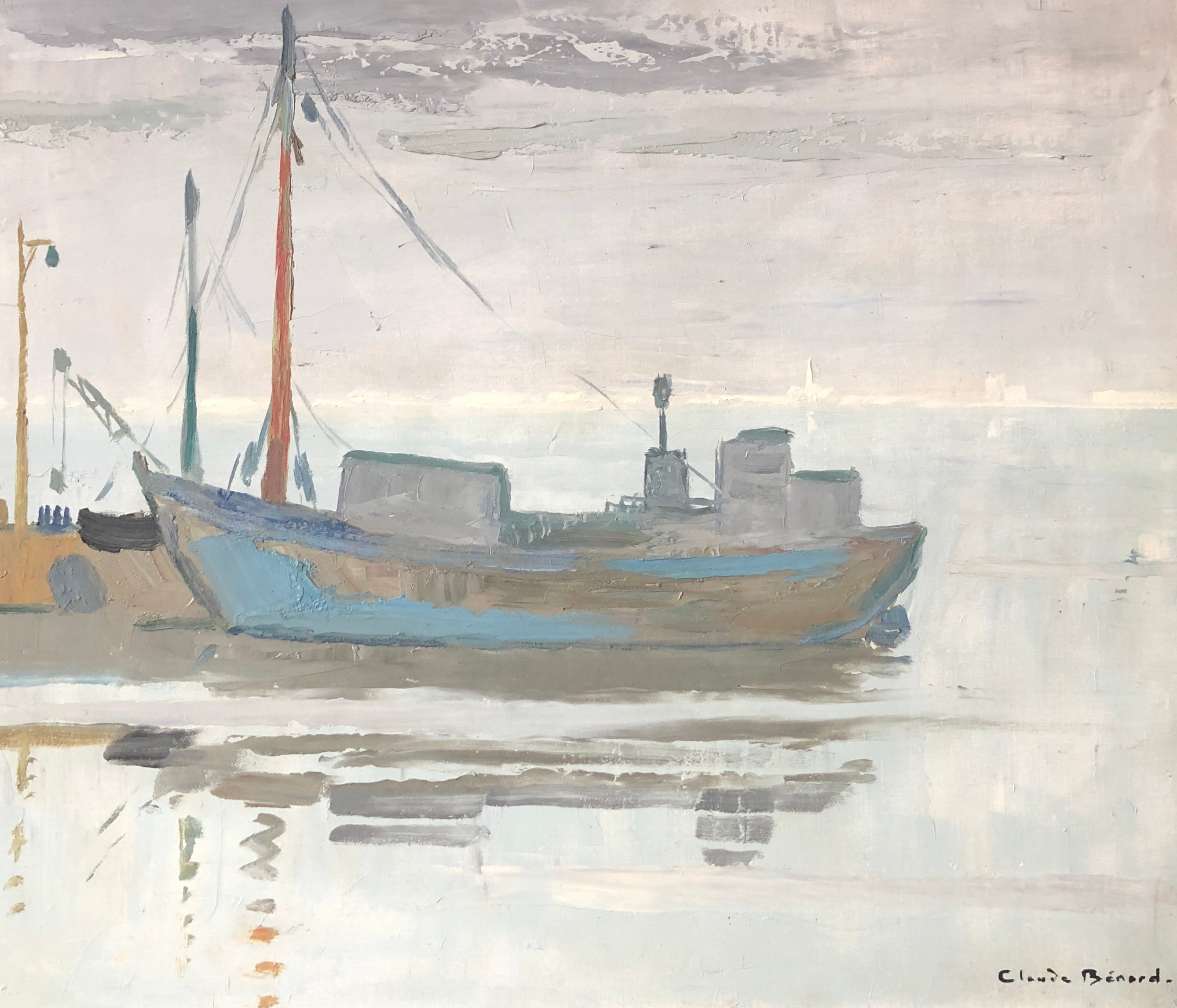 Fishing Boats Moored, Signed Oil Painting