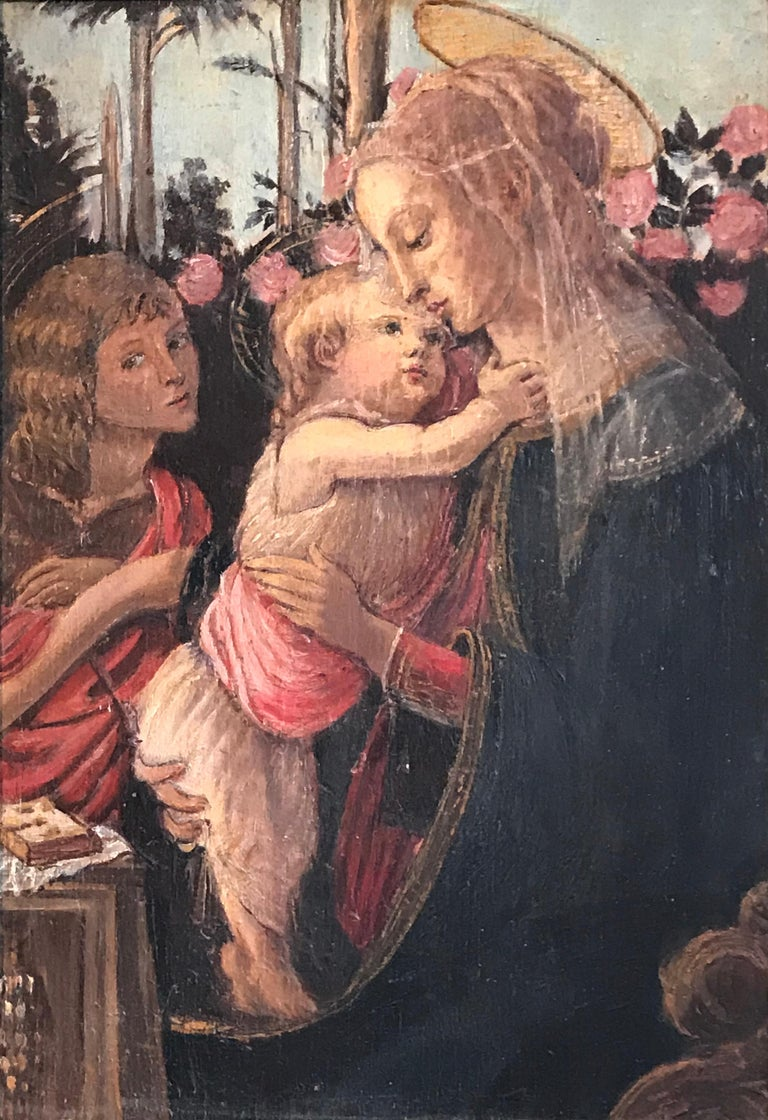 The Virgin, Christ Child and St. John the Baptist, Fine Italian Oil Painting