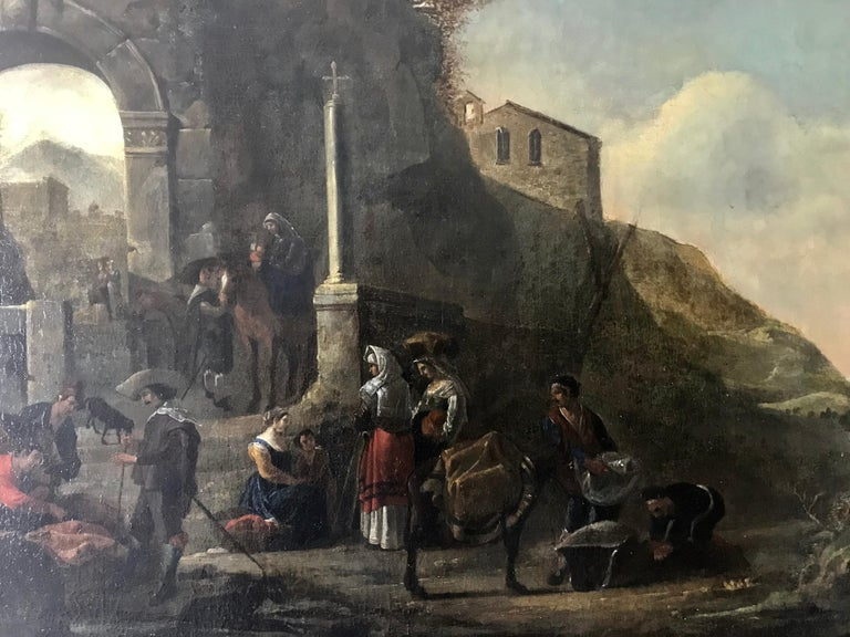 Merchants at the Port, 17th century Dutch Old Master oil painting