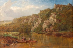 Tranquil Estuary Fishermen in Boats, Antique Signed English Oil Painting