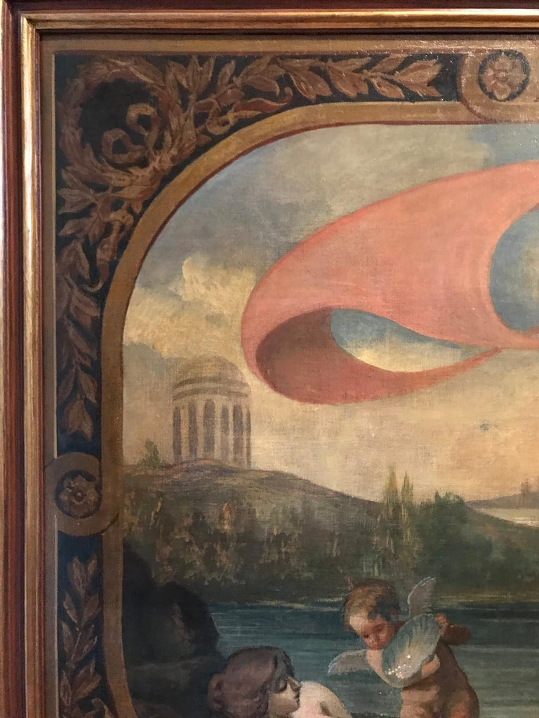 Amphitrite & The Cherubs - Enormous 18th Century Italian Classical Oil Painting For Sale 7